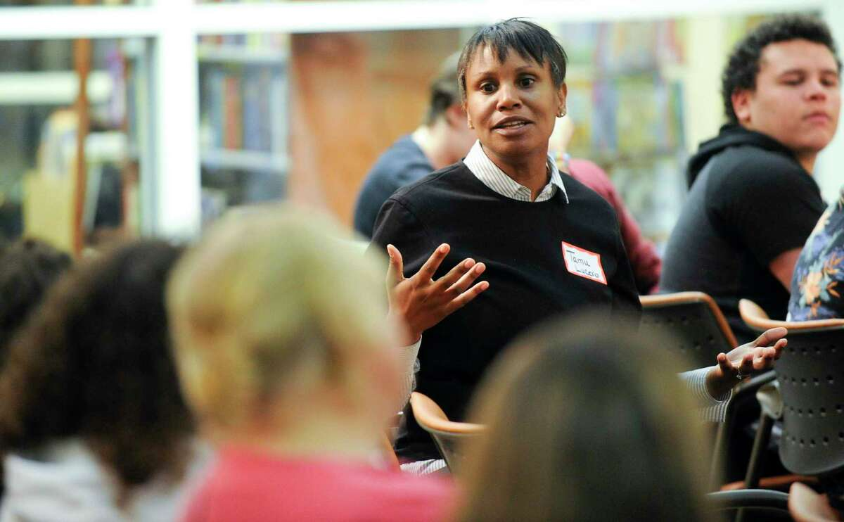 Stamford School Superintendent Tamu Lucero addresses a question ask during a Kids In Crisis Ct's Lighthouse forum on LGBTQ issues at the Ferguson Library Harry Bennett Branch on Sept. 18, 2019 in Stamford, Connecticut.