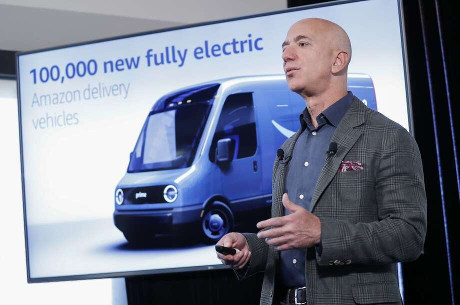 Amazon CEO Jeff Bezos discusses the pledge made by the company to reduce its greenhouse gas emissions. Photo: Pablo Martinez Monsivais / Associated Press