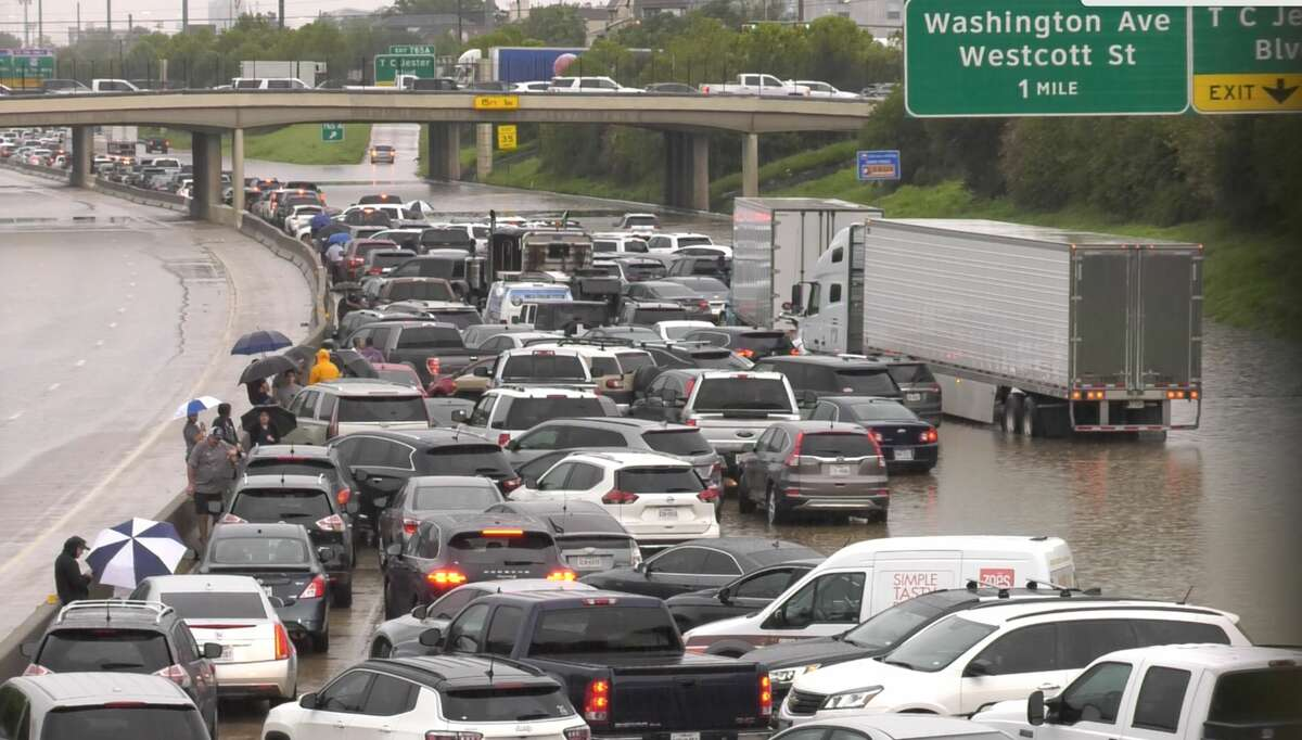 Vehicles back up on Katy Freeway near Patterson about 3 p.m. Thursday. After three rain-sogged days because of Tropical Depression Imelda, Houston residents had thought it was over.