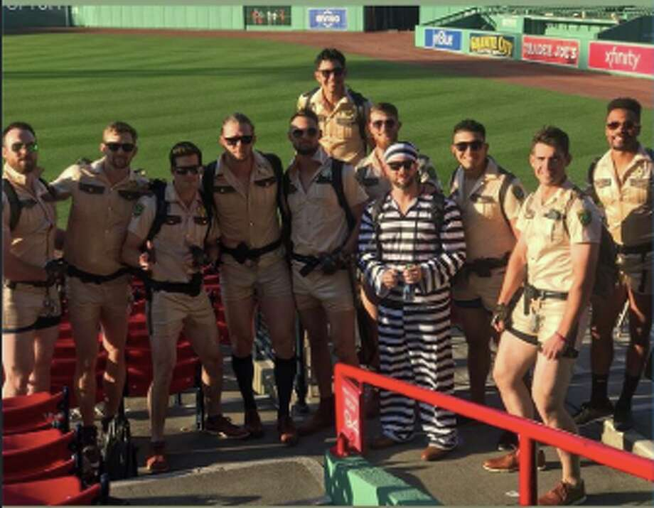 Giants rookies dressed up after the Red Sox series ended. Photo: Instagram/Enderson Franco