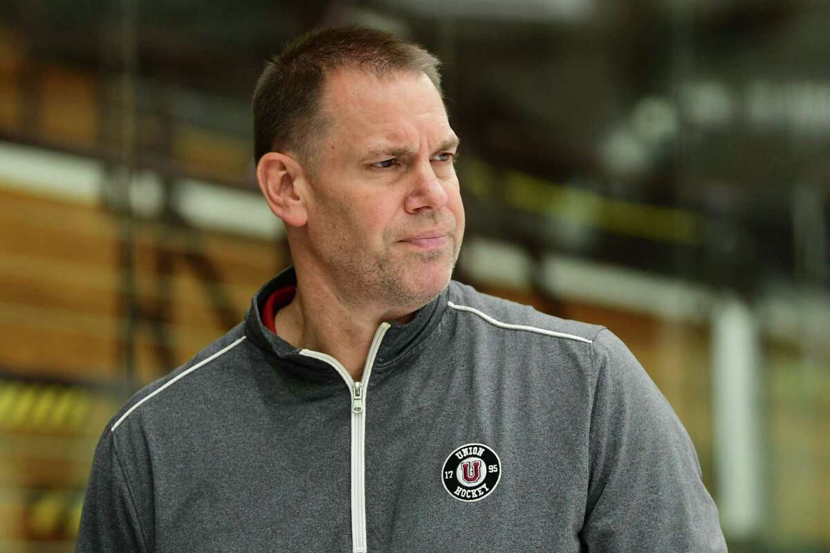 Coach Rick Bennett is seen during media day at Union College on Thursday, Sept. 19, 2019 in Schenectady, N.Y. (Lori Van Buren/Times Union)
