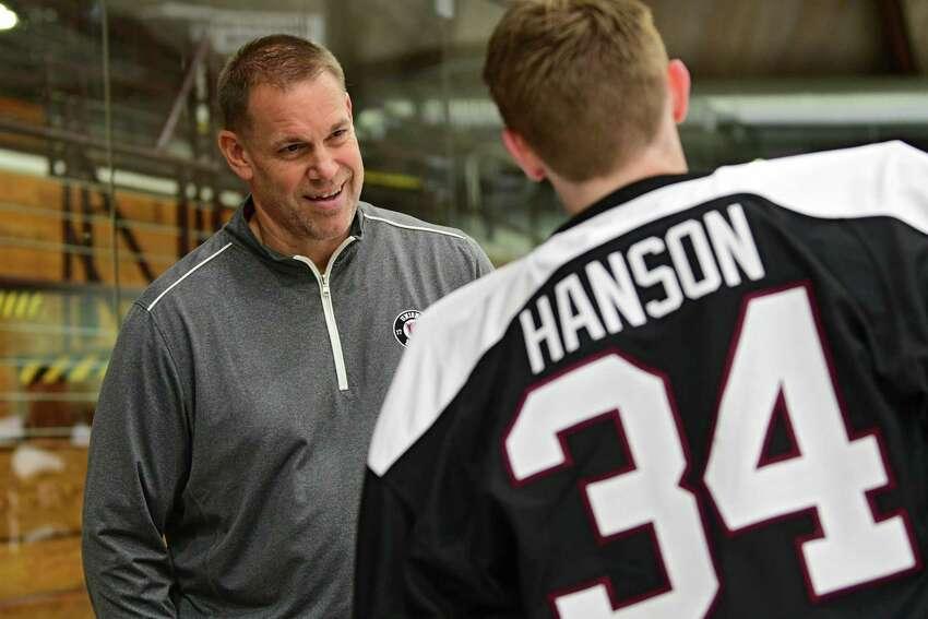 Union hockey coach Rick Bennett talks to goaltender Darion Hanson during media day at Union College on Thursday, Sept. 19, 2019 in Schenectady, N.Y. (Lori Van Buren/Times Union)