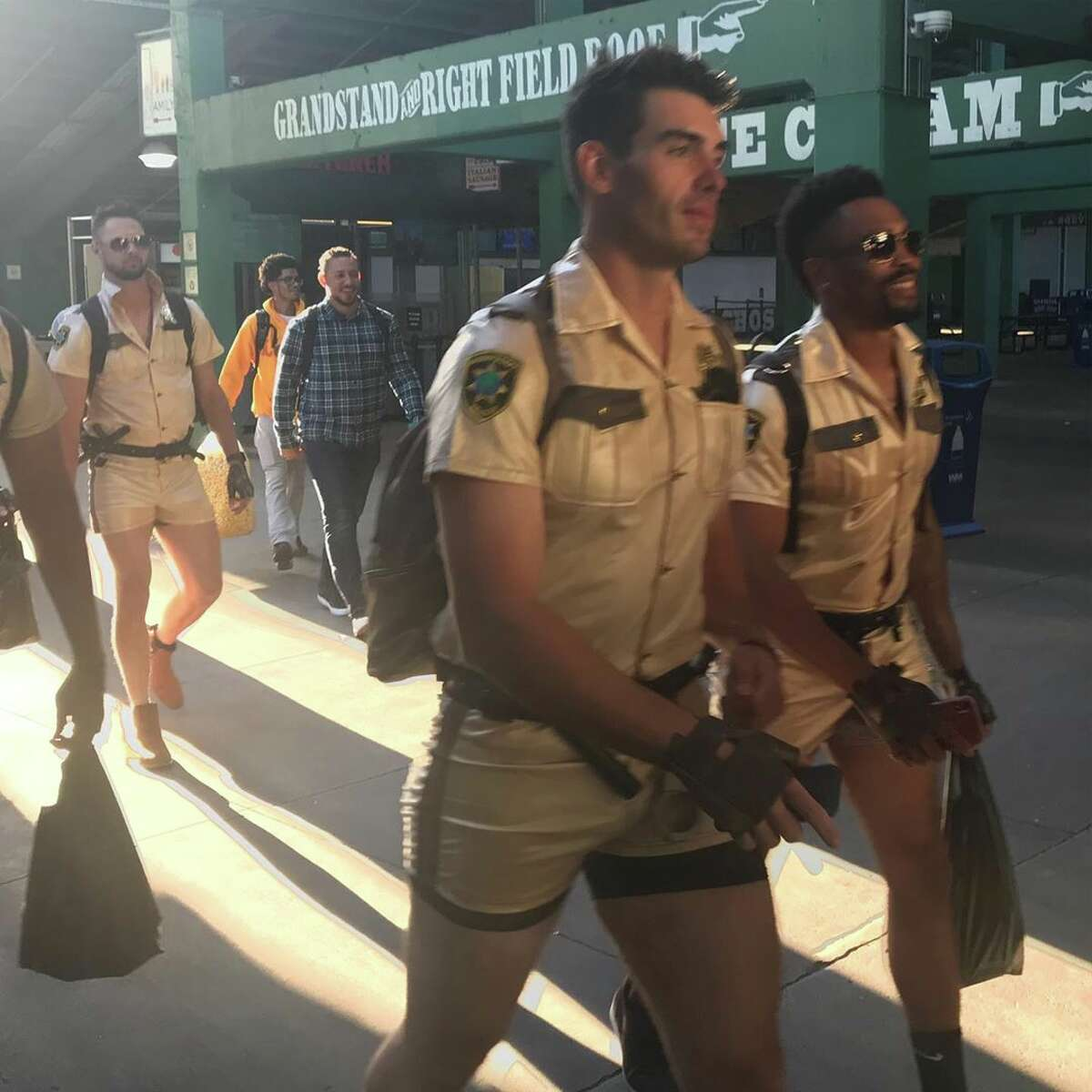Giants rookies dressed up after the Red Sox series ended.