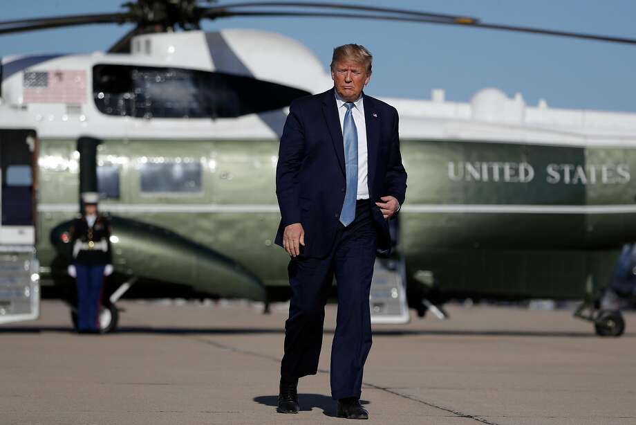 President Donald Trump boards Air Force One at Marine Corps Air Station Miramar, Wednesday, Sept. 18, 2019, in San Diego, Calif. (AP Photo/Evan Vucci) Photo: Evan Vucci, Associated Press