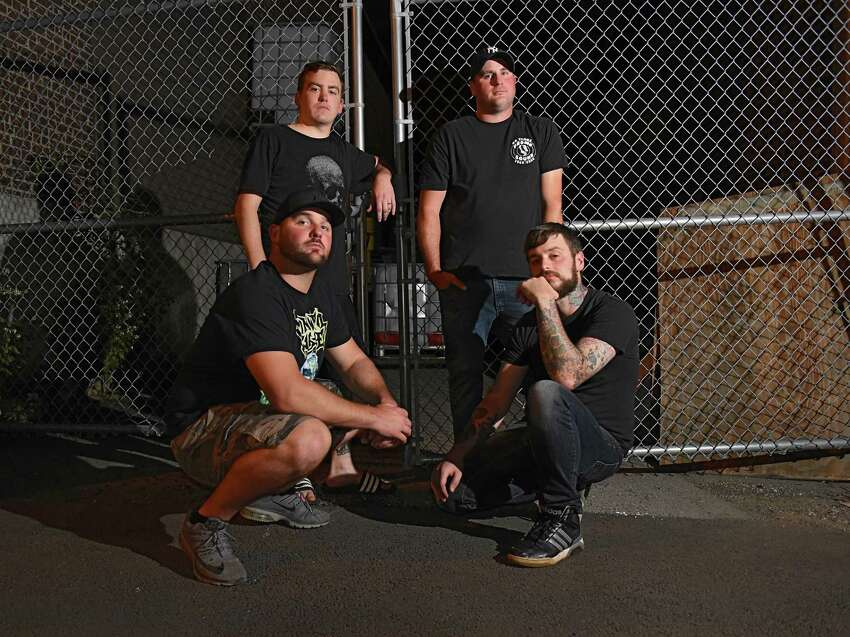 Local band Greasefire members, clockwise from top left, Ryan Kenney, Nate Glass, Mike Kuehn and Kelly Martin North Albany Studios on Tuesday, Sept. 10, 2019 in Albany, N.Y. (Lori Van Buren/Times Union)