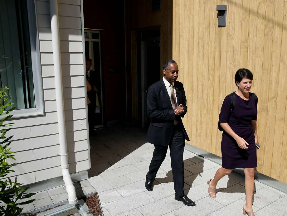 HUD Secretary Ben Carson arrives to speak to the media during a press conference during a visit to an affordable housing project in the Potrero Terrace public housing project, located at 1101 Connecticut St., in San Francisco, Calif., on Tuesday, September 17, 2019. Also pictured is HUD's Caroline Vanvick. Photo: Yalonda M. James / The Chronicle