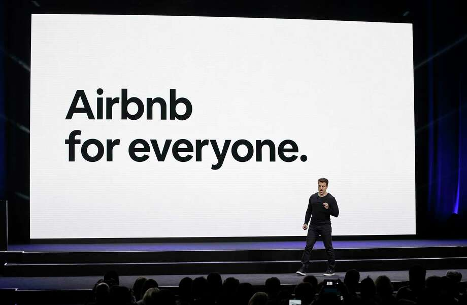 FILE - In this Feb. 22, 2018, file photo, Airbnb co-founder and CEO Brian Chesky speaks during an event in San Francisco. Home-sharing company Airbnb Inc. says it will go public in 2020. Ita€™s a long-awaited move for the company, which was founded in 2008 in San Francisco. (AP Photo/Eric Risberg, File) Photo: Eric Risberg / Copyright 2018 The Associated Press. All rights reserved.
