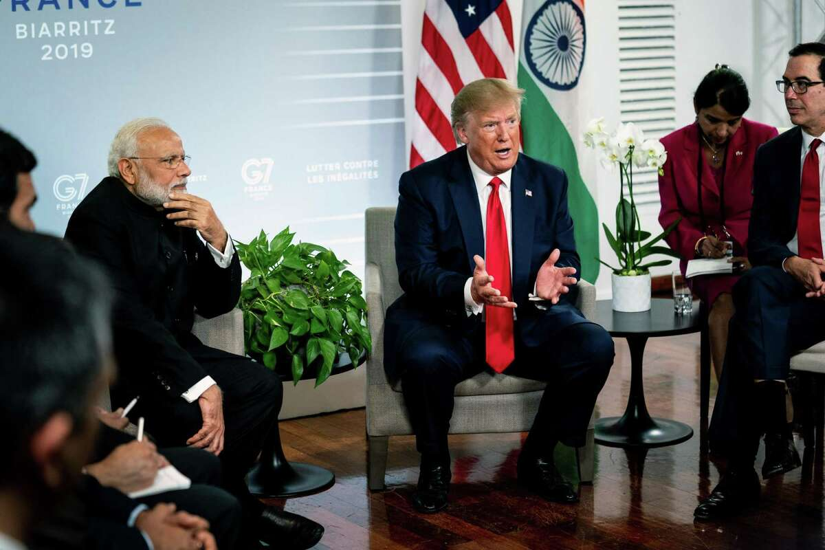 President Donald Trump meets with Prime Minster Narendra Modi of India at the G7 summit in Biarritz, France on Monday, Aug. 26, 2019. Modi declined Trump's offer to mediate India's dispute with Pakistan over Kashmir. (Erin Schaff/The New York Times)