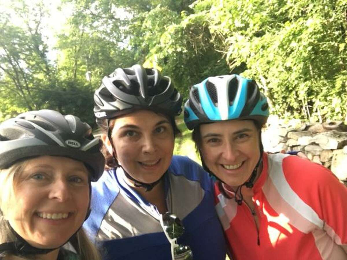 From left, Kristin Jordan, Rochelle Charnin, and Pia Roeser of Darien are taking a bike trek to support the American Lung Association.