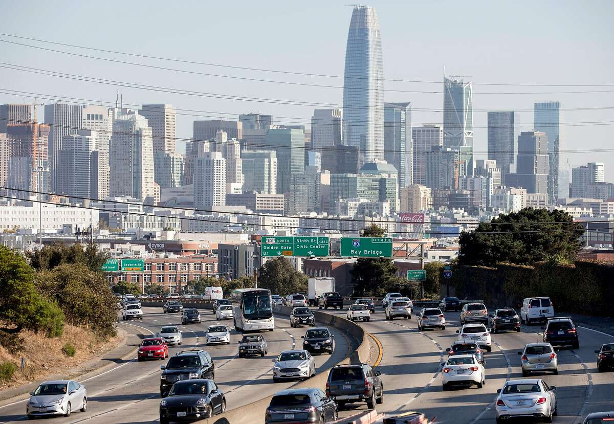 Cars make their way north and south on Highway 101 in San Francisco, Calif. Thursday, September 12, 2019.