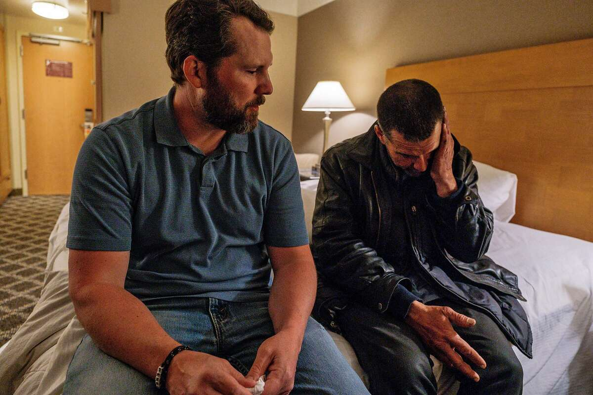 April 26, 2019 - Baron Feilzer, Tyson�s brother, gets emotional while talking to Tyson and listening to his story. Feilzer had searched the streets all day for Tyson before finding him with the help of other homeless people. Tyson was quoted, with photo, in a story earlier this month -- and Baron has flown out from Ohio to find him. He had lost track and want to save him through rehab. (Nick Otto Special to the Chronicle)