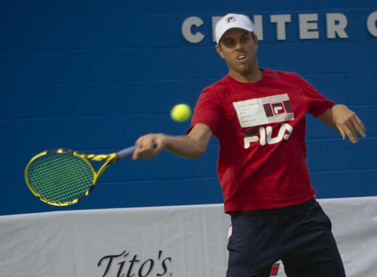 Sam Querrey plays Mardy Fish 09/19/19 at the Bush Tennis Center in an exhibition game on center court as part of the West Texas Tennis Classic. Tim Fischer/Reporter-Telegram