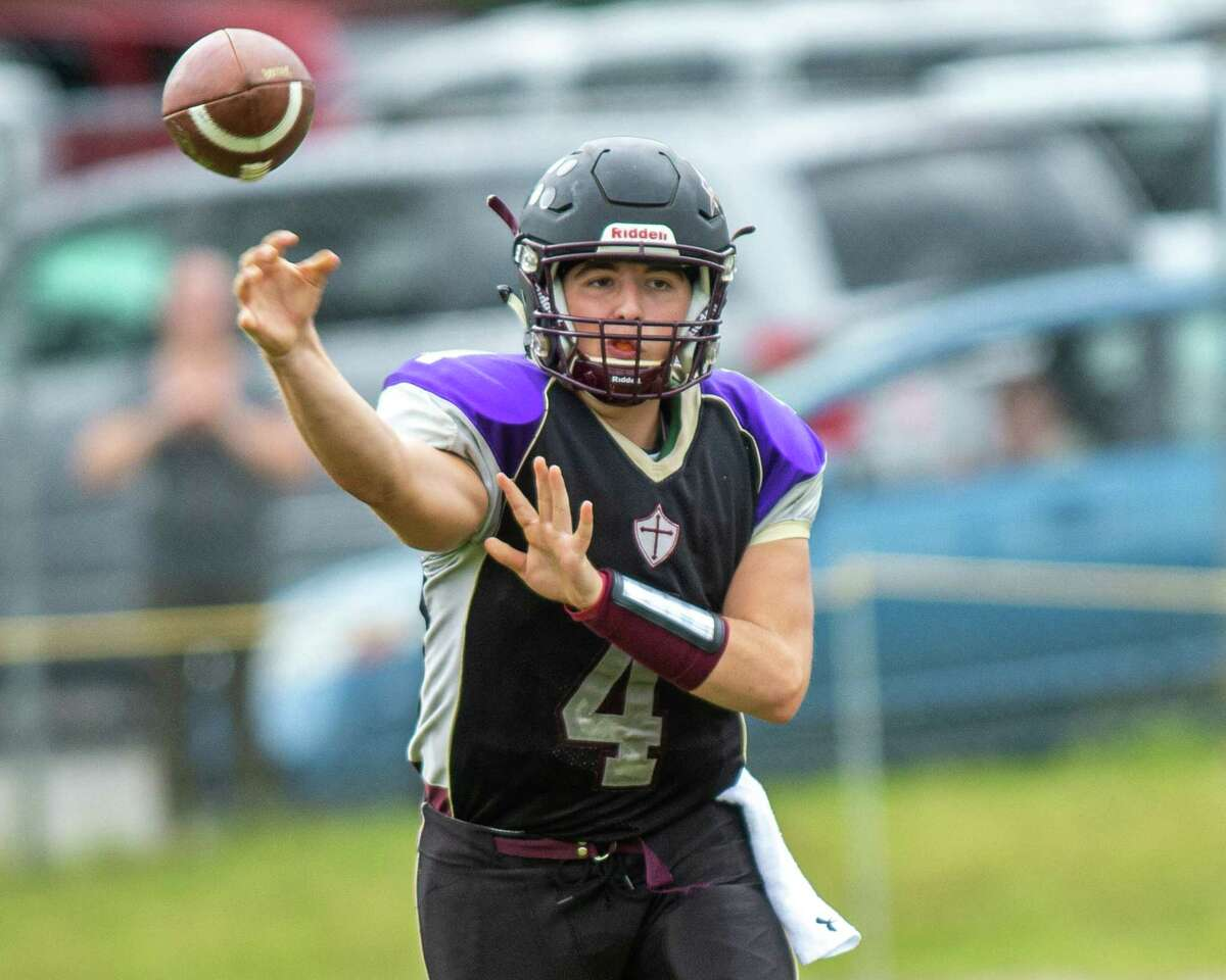 Holy Trinity quarterback Joe Tortello during a game against Hudson at Notre Dame Bishop Gibbons High School on Saturday, Sept. 7, 2019 (Jim Franco/Special to the Times Union.)