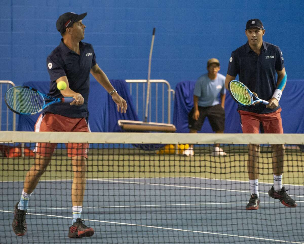 Mark and Bob Bryan take on Mardy Fish and Sam Querrey 09/19/19 at the Bush Tennis Center in an exhibition game on center court as part of the West Texas Tennis Classic. Tim Fischer/Reporter-Telegram