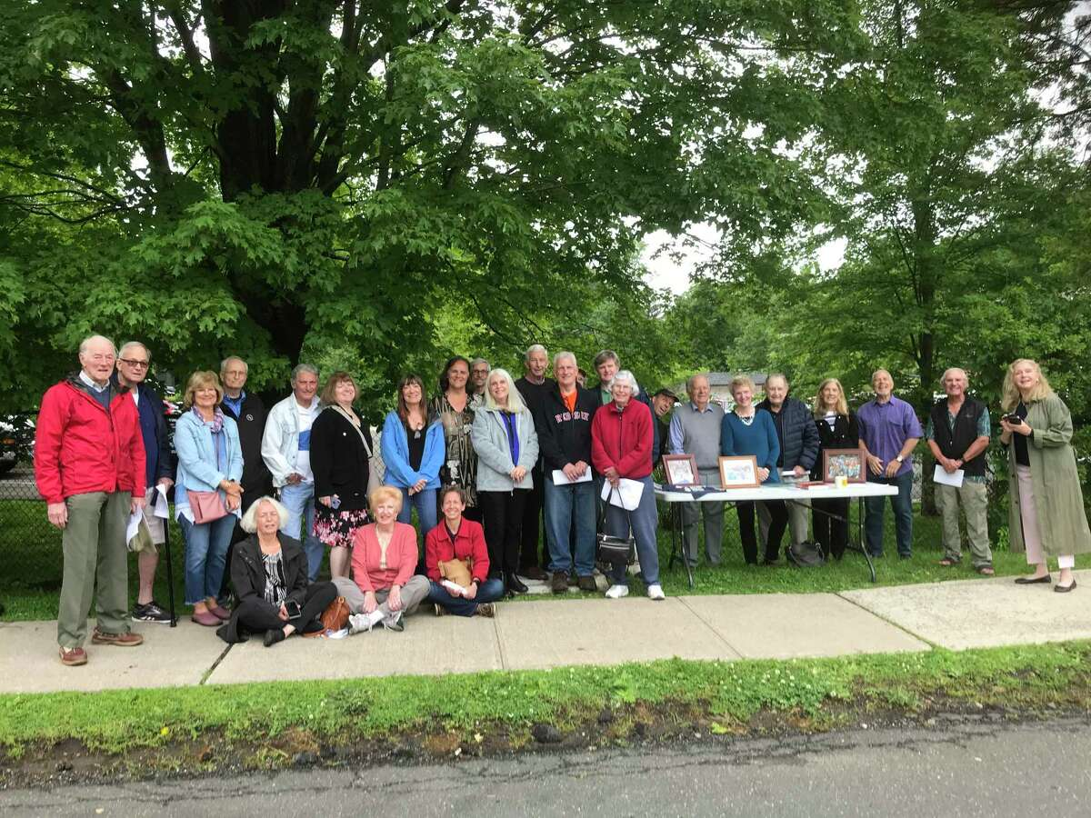 A group that included many former Wolfpit Running Club members attended a dedication ceremony for Rick Favier in June.