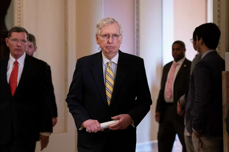 Senate Majority Leader Mitch McConnell, R-Ky., joined at left by Sen. John Barrasso, R-Wyo., arrives to speak to reporters during a news conference at the Capitol in Washington, Tuesday, Sept. 17, 2019. (AP Photo/J. Scott Applewhite) Photo: J. Scott Applewhite / Copyright 2019 The Associated Press. All rights reserved.
