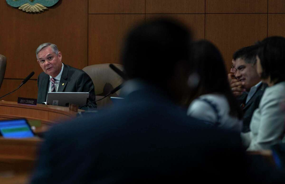 San Antonio city council member John Courage, discusses his opposition Thursday, Sept. 19, 2019 at city council chambers to the city's paid sick leave ordinance during a discussion of possible changes to the ordinance that has yet to take effect.