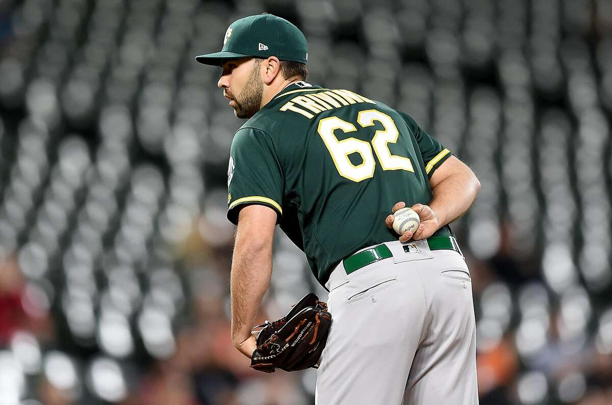 BALTIMORE, MD - APRIL 09: Lou Trivino #62 of the Oakland Athletics pitches against the Baltimore Orioles at Oriole Park at Camden Yards on April 9, 2019 in Baltimore, Maryland. ~~