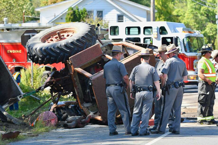 A farm tractor driver from Hudson was killed in a collision Thursday, Sept. 19, 2019 with a dump ruck on Route 9. Photo: Lance Wheeler / Special To The Times Union