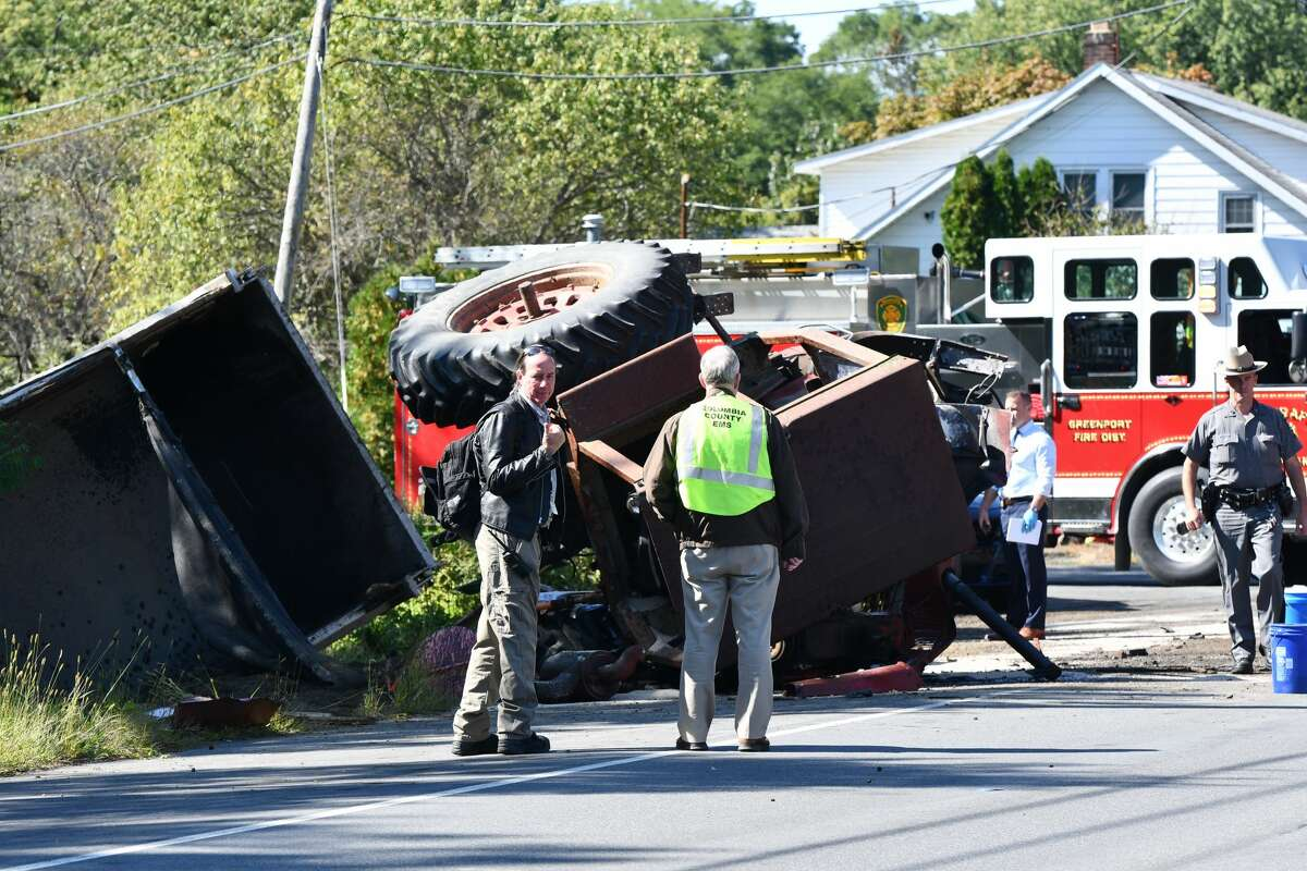 A farm tractor driver from Hudson was killed in a collision Thursday, Sept. 19, 2019 with a dump ruck on Route 9.