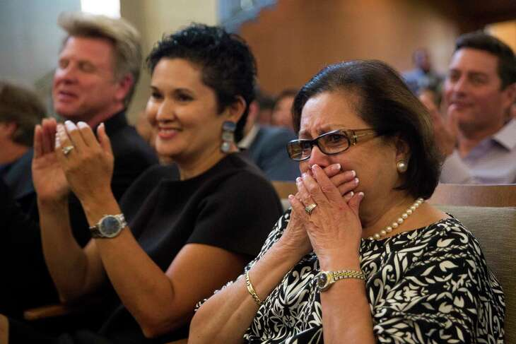 Hope Andrade, right, and Lisa Wong of Go Rio San Antonio react after winning a river barge operation contract in 2017.