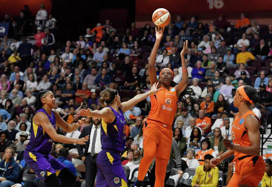 Connecticut Sun's Jonquel Jones shoots over Los Angeles Sparks' Sydney Wiese during the second half of Game 2 of a WNBA basketball playoff game Thursday, Sept. 19, 2019, in Uncasville, Conn. (AP Photo/Jessica Hill) Photo: Jessica Hill / Copyright 2019 The Associated Press. All rights reserved