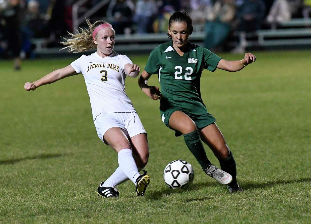 Averill Park's Bryanna Swinson (3) and Shenendehowa's Georgia Greene (22) chase a loose ball during a Section II girls' high school soccer game in Clifton Park, N.Y., Thursday, Sept.19, 2019. (Hans Pennink / Special to the Times Union)