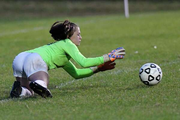 Averill Park goalkeeper Michelina Lombardi (0) makes a save against Shenendehowa during a Section II girls' high school soccer game in Clifton Park, N.Y., Thursday, Sept.19, 2019. (Hans Pennink / Special to the Times Union)