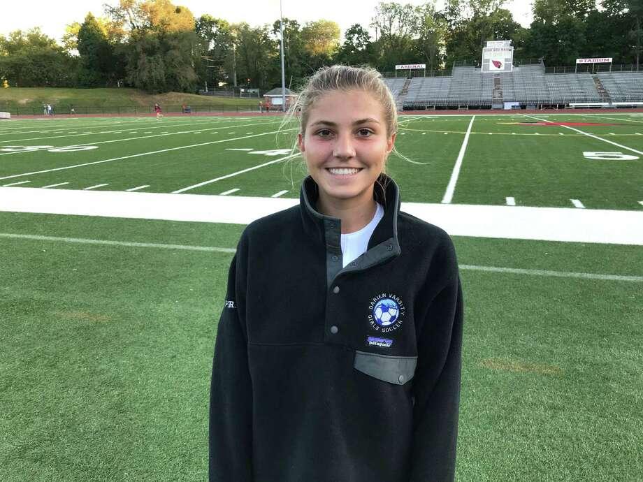 Chloe Humphrey scored two goals in the Darien girls soccer team's 3-0 win vs. Greenwich on Sept. 19, 2019, in Greenwich. Photo: David Fierro /Hearst Connecticut Media