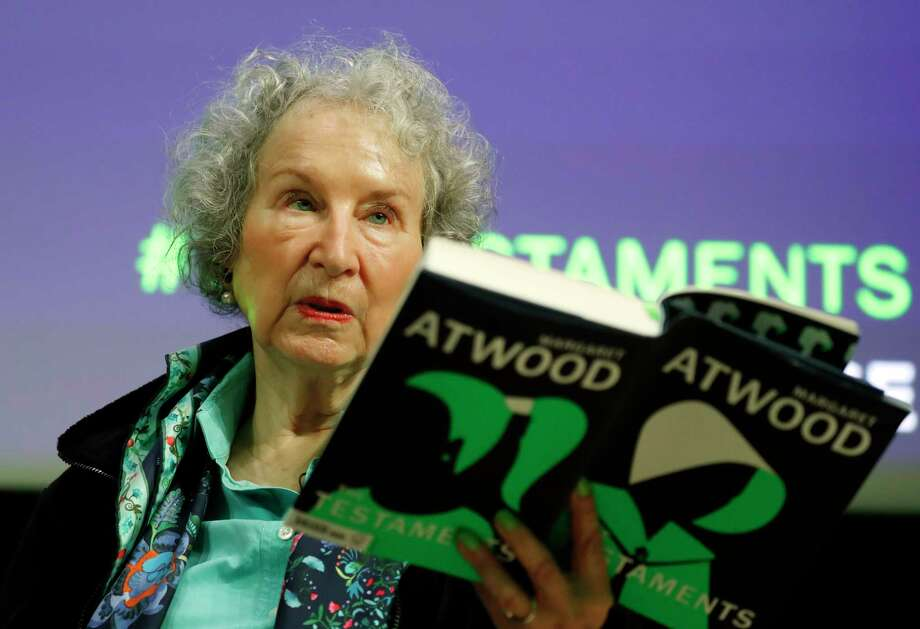Canadian author Margaret Atwood speaks during a press conference at the British Library to launch her new book 'The Testaments' in London, Tuesday, Sept. 10, 2019. (AP Photo/Alastair Grant) Photo: Alastair Grant / Copyright 2019 The Associated Press. All rights reserved