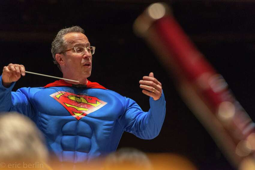 David Alan Miller in his iconic Super Orchestra Man persona (Eric M. Berlin)
