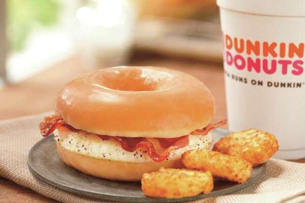 Dunkin' Donuts glazed donut breakfast sandwich.