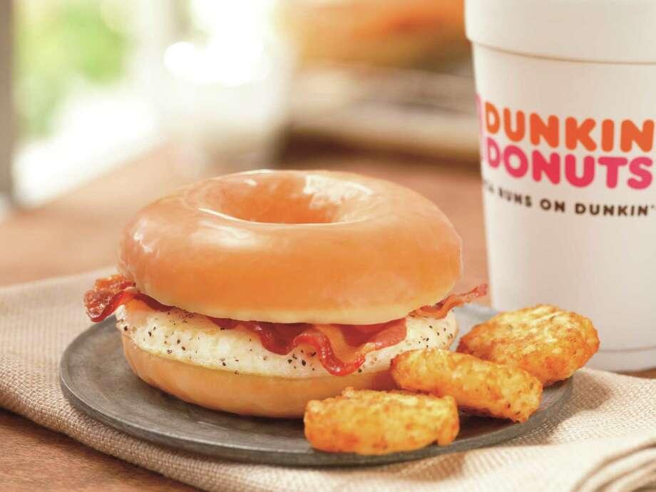 Dunkin' Donuts glazed donut breakfast sandwich. Photo: James Scherer / Dunkin' Donuts / Scherer Studio, Inc.