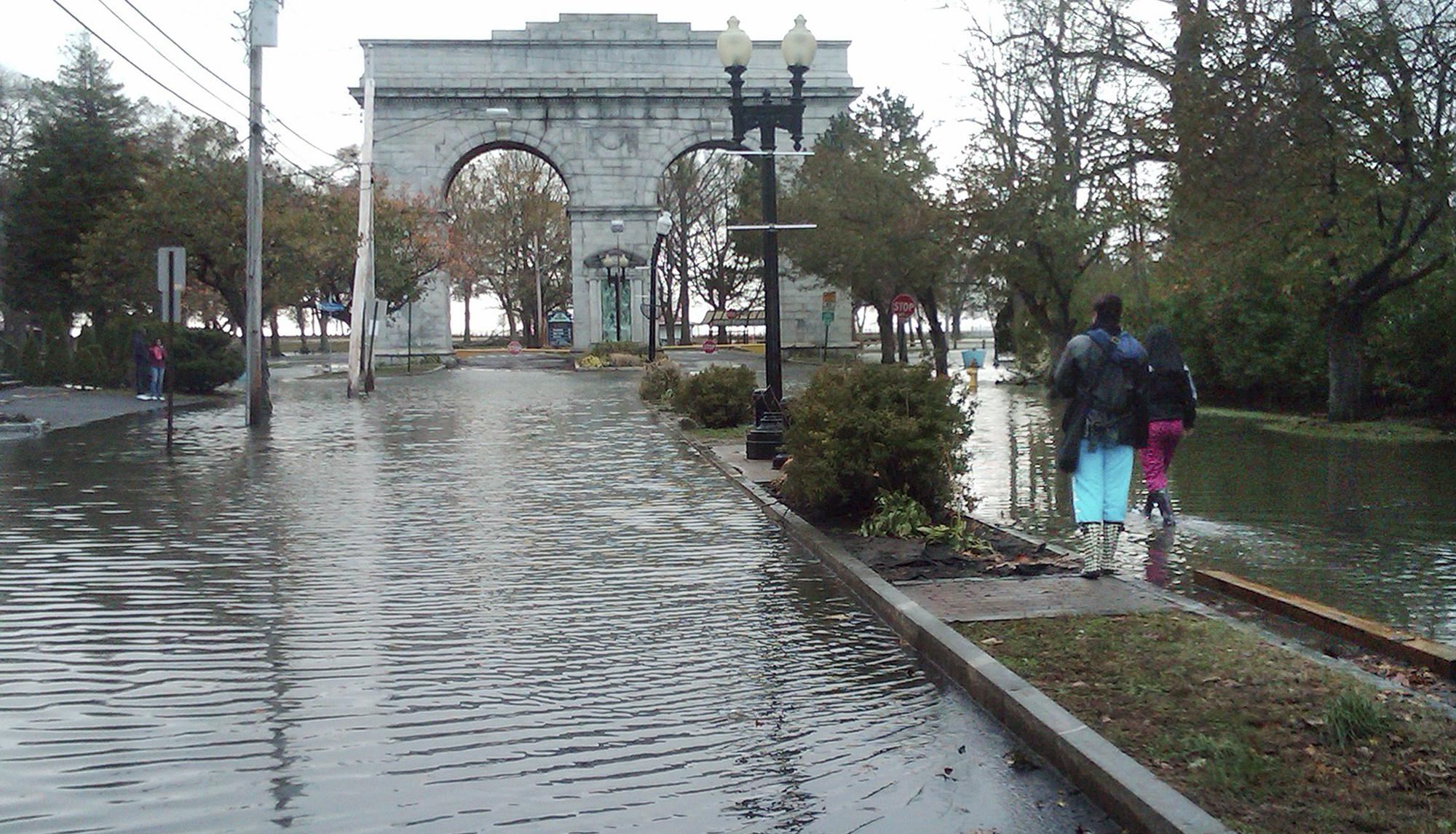 Bridgeport building barriers after swamped by stormwaters