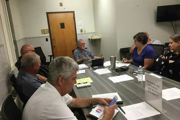 The East Haven Inland Wetlands Commission at its Sept. 11, 2019 meeting, including Chairman Gerald Jaffe, center, and Town Engineer Kevin White, at lower left.