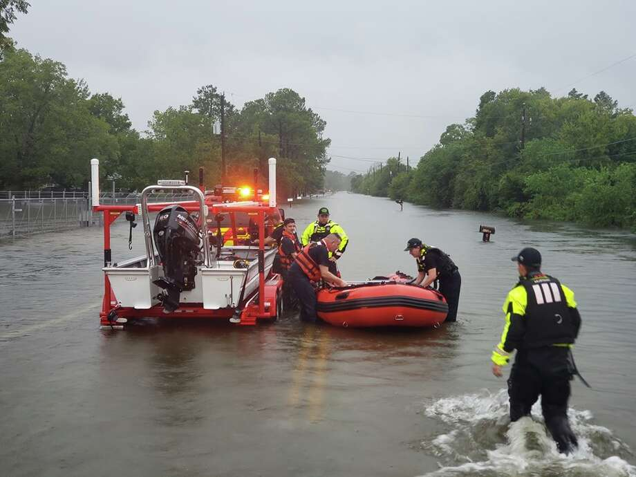 """Crosby Volunteer Fire Department  """"We are actively working High Water Evacuations and Rescues at this time with our partners from Harris County Pct. 3 Constables, Harris County Sheriff Office and Harris County Precinct 2 Maintenance. We are working diligently as possible to respond all calls for service."""" Photo: Crosby VFD/Facebook"""