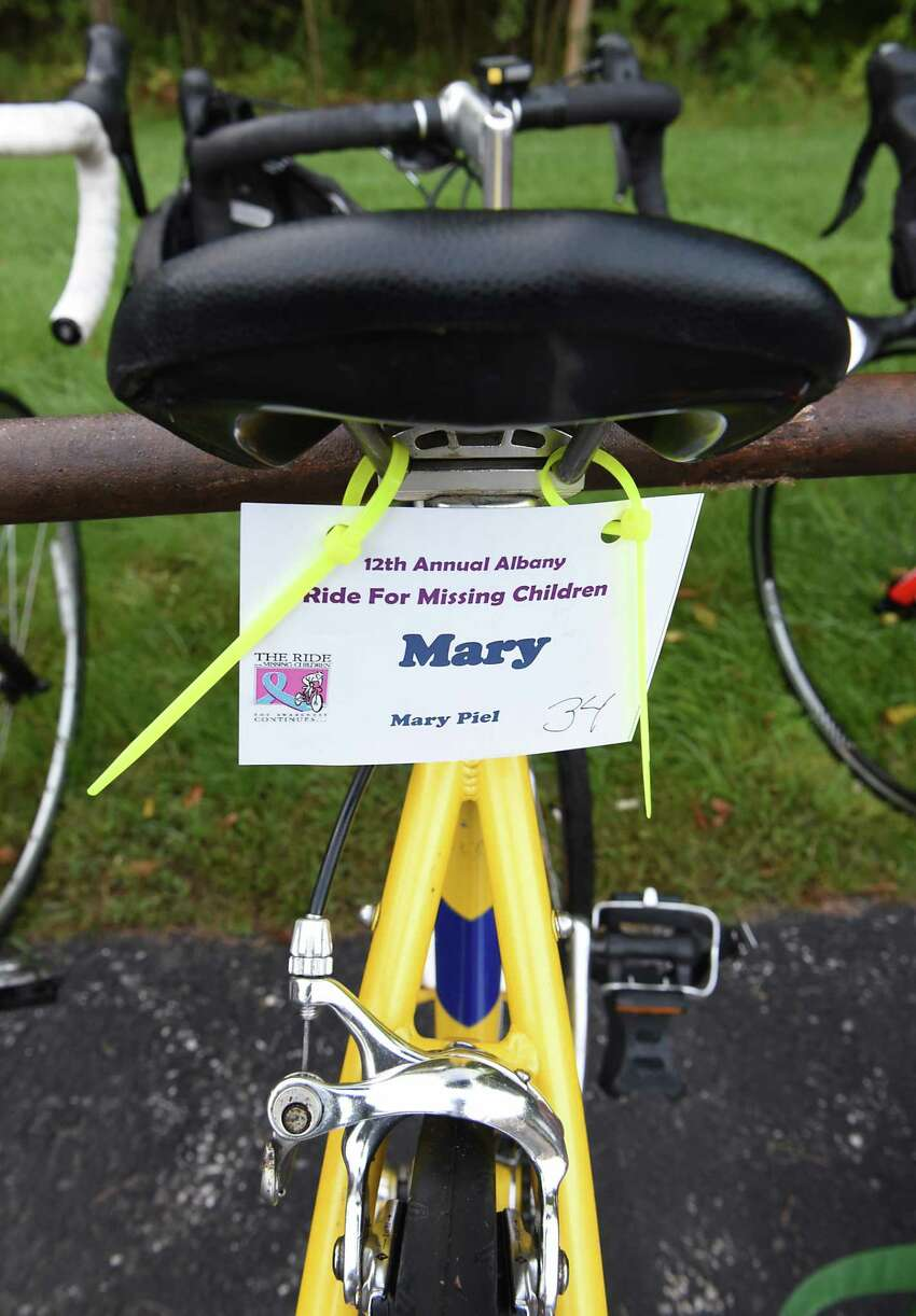 A name plate is seen on a bike parked in back of the Guilderland YMCA before the start of the 12th annual Albany Ride for Missing Children on Friday, Sept. 20, 2019 in Guilderland, N.Y. The riders raise money for the National Center for Missing and Exploited Children, which goes towards continued investigation on active cases, and providing safety education programs. (Lori Van Buren/Times Union)