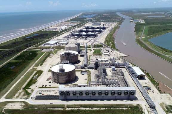 Aerial view of the Freeport LNG export terminal near the Brazoria County town of Quintana. The first production unit has been completed but construction continues for two more. Once all three are in operation, the liquefied natural gas facility will be able to produce up to 15 million metric tons of LNG per year.