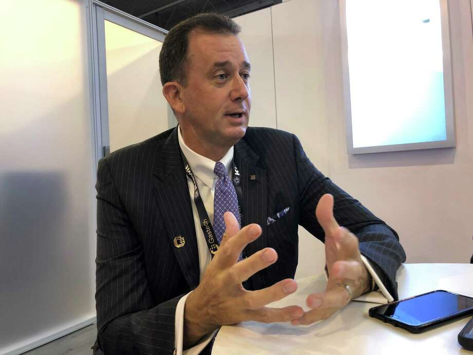 LNG Limited CEO Greg Vesey speaking at the GasTech conference on Wednesday, September 18, 2019. The company is seeking to build a liquefied natural gas export terminal in Lake Charles, Louisiana. The is one step closer to getting permission from federal regulators to boost capacity at its proposed at the proposed plant.   Photo: Sergio Chapa / Houston Chronicle