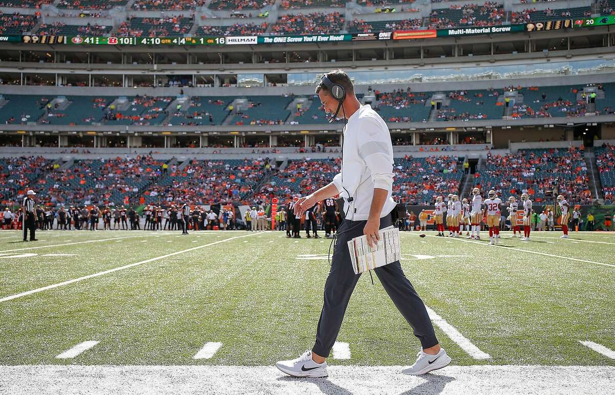 Head coach Kyle Shanahan of the San Francisco 49ers is seen during the second half against the Cincinnati Bengals on Sunday, Sept. 15, 2019 at Paul Brown Stadium in Cincinnati, Ohio. (Michael Hickey/Getty Images/TNS)