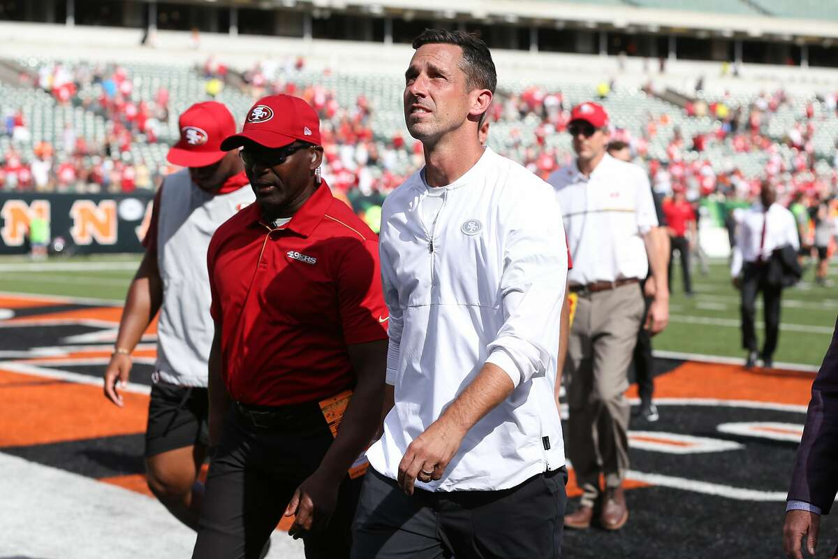 CINCINNATI, OH - SEPTEMBER 15: San Francisco 49ers head coach Kyle Shanahan walks off the field after the game against the San Francisco 49ers and the Cincinnati Bengals on September 15th 2019, at Paul Brown Stadium in Cincinnati, OH. (Photo by Ian Johnson/Icon Sportswire via Getty Images)