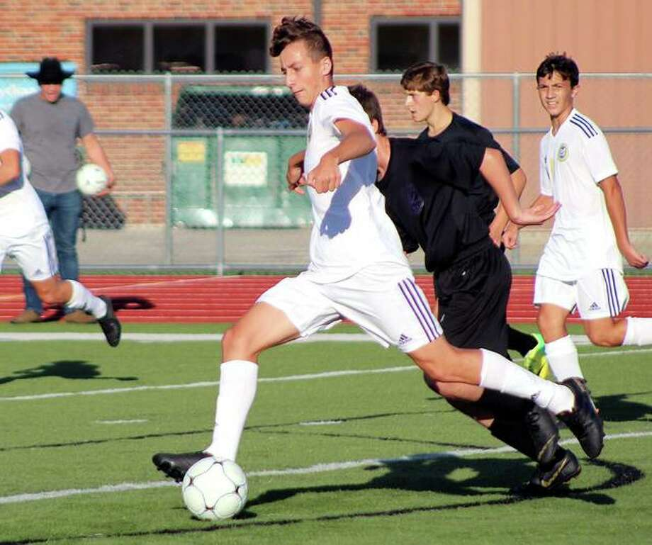 Civic Memorial's Parker Scottberg had two goals and an assist in his team's 5-0 victory over Roxana Friday. Photo: Pete Hayes | The Telegraph
