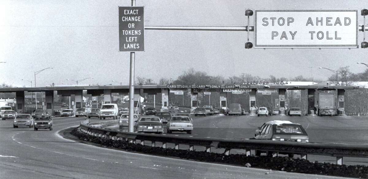 The Stratford toll plaza, on I-95 in Stratford, before it closed in the 1980s.