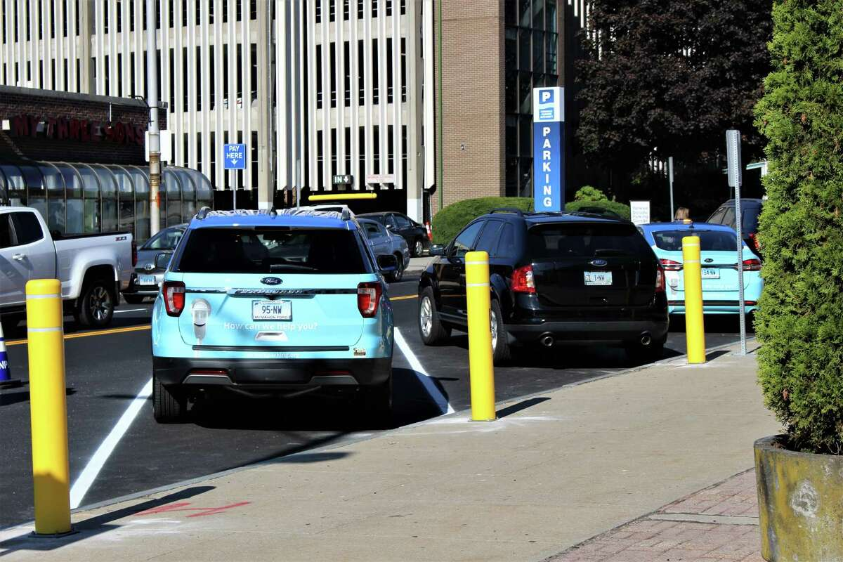 Norwalk officials unveiled new back-in angled parking in the Wall Street area on Friday, Sept. 20, 2019.