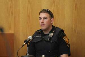 "Bridgeport police officer John Carrano testifies at trial for Tyree Smith before a three judge panel in Bridgeport, Conn. on Monday, July 1, 2013. Smith is charged with the murder of Angel ""Tun Tun"" Gonzalez."