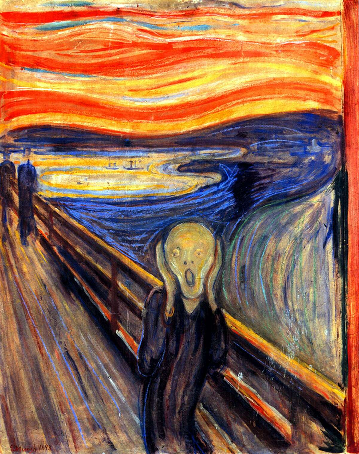 The Scream's background includes ships in the harbor and the skyline of Christiania (now Oslo), Norway, clues that allowed astronomer Donald W. Olson and his colleagues to determine when and where Munch became filled with anxiety. The vivid sunset was caused by upper atmospheric dust from a volcano.