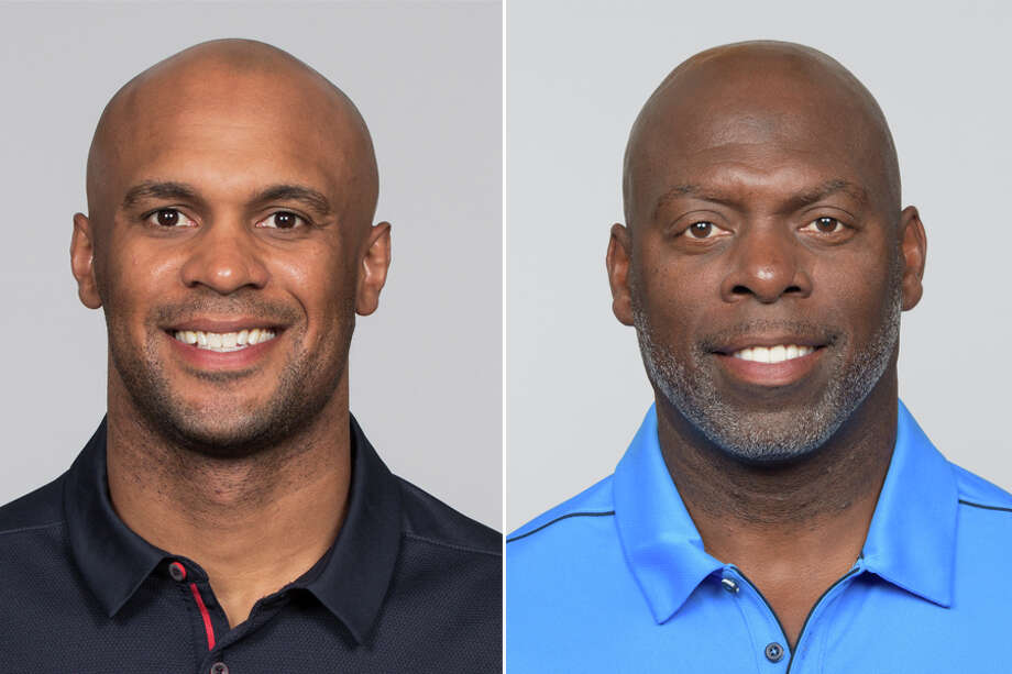 Chargers head coach Anthony Lynn (right) said his family will be rooting for son D'Anton, the Texans' assistant secondar coach, when their teams square off Sunday. Photo: Associated Press Photos