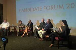 Incumbent and new candidates running for the Torrington Board of Education participated in a forum at the Connecticut Academy for the Arts on Wednesday night. From left are Jeff Putnam, Cathy Todor, Fiona Cappabianca, Armand Maniccia, Gary Eucalitto and Nikki Fappiano.