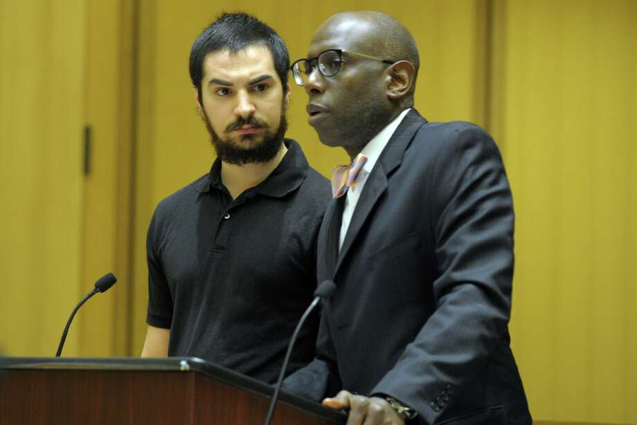 Brandon Wagshol stands with his attorney, Darnell Crosland, during a hearing in state Superior Court in Stamford, Conn. Sept. 20, 2019. Photo: Ned Gerard / Hearst Connecticut Media / Connecticut Post