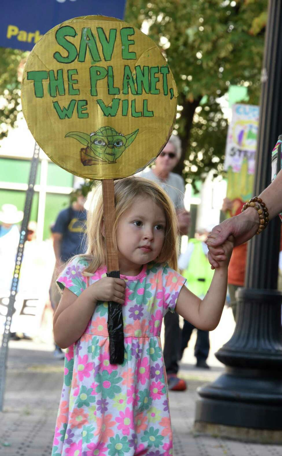 Nora Breen, 4, of Clarksville walks down Broadway as she and Capital District residents participate in the international student climate strike on Friday, Sept. 20, 2019 in Albany, N.Y. (Lori Van Buren/Times Union)